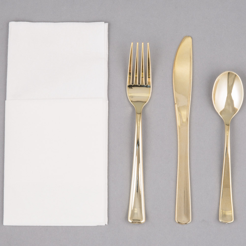 Gold Cutlery Sets Eamasy Party Visions Gold Heavy Weight Plastic Cutlery Set With