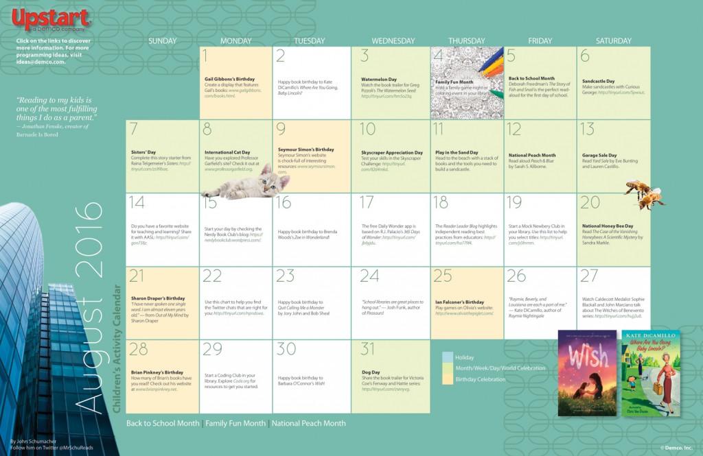 August Activities for Schools  Libraries - school calendar creator