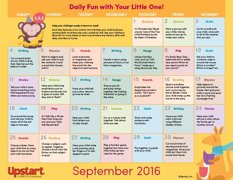 Early Literacy Activity Calendar September 2016