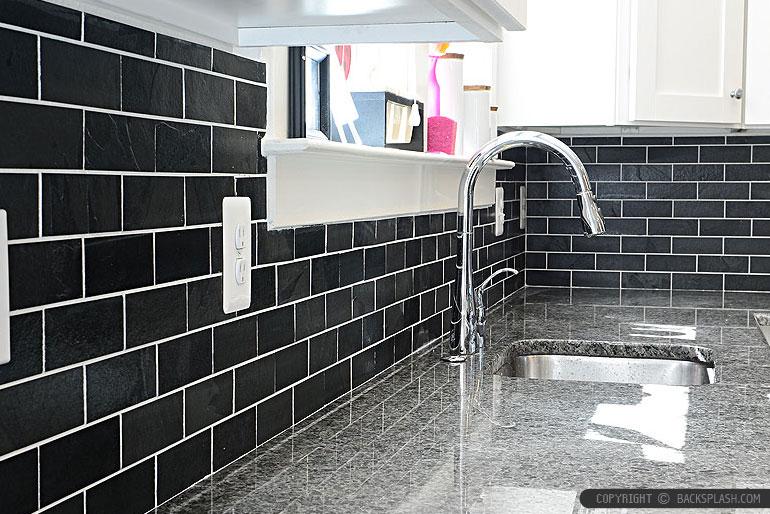 Travertine Subway Tile Black Slate Subway Backsplash Tile White Cabinet | Backsplash Tile Ideas | Kitchen Backsplash ...