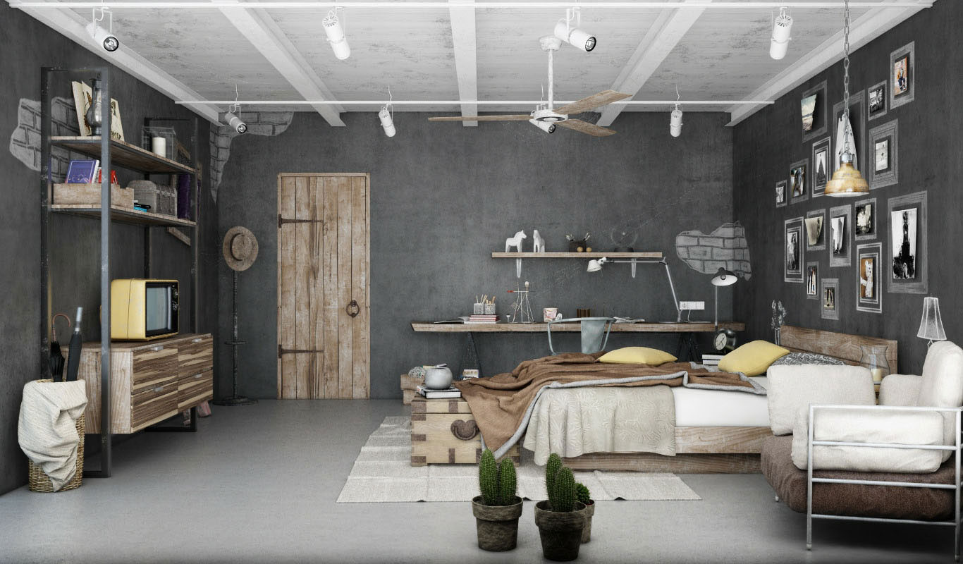 Industrial Chic Curtains Industrial Bedroom 3d Artwork By Blalank Studio Ideasgn