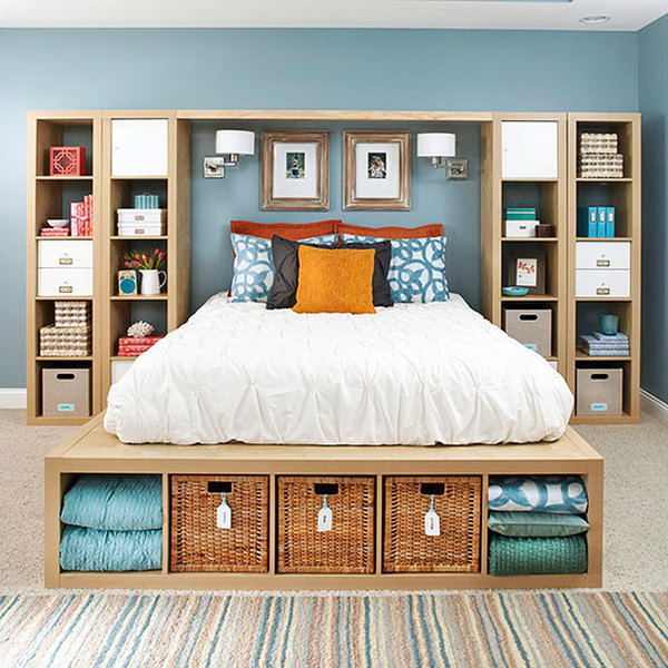 60 Cool and Creative DIY Crate Bookshelf to Apply Your Home Crate - faire une chambre dans un salon