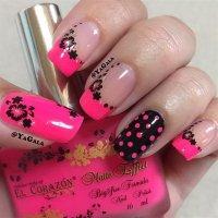 50+ Beautiful Pink and Black Nail Designs 2017