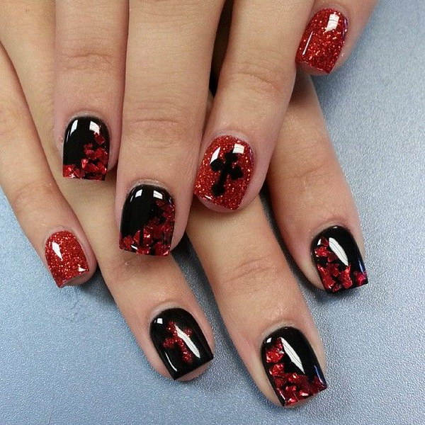 Pics For > Red And Black Nail Art