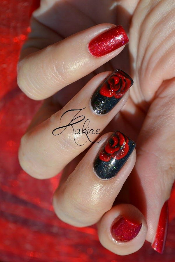45+ Stylish Red and Black Nail Designs 2017