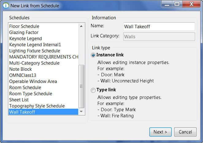 Mapping Revit Schedules to a Link Creating a Link Ideate BIMLink - create schedule