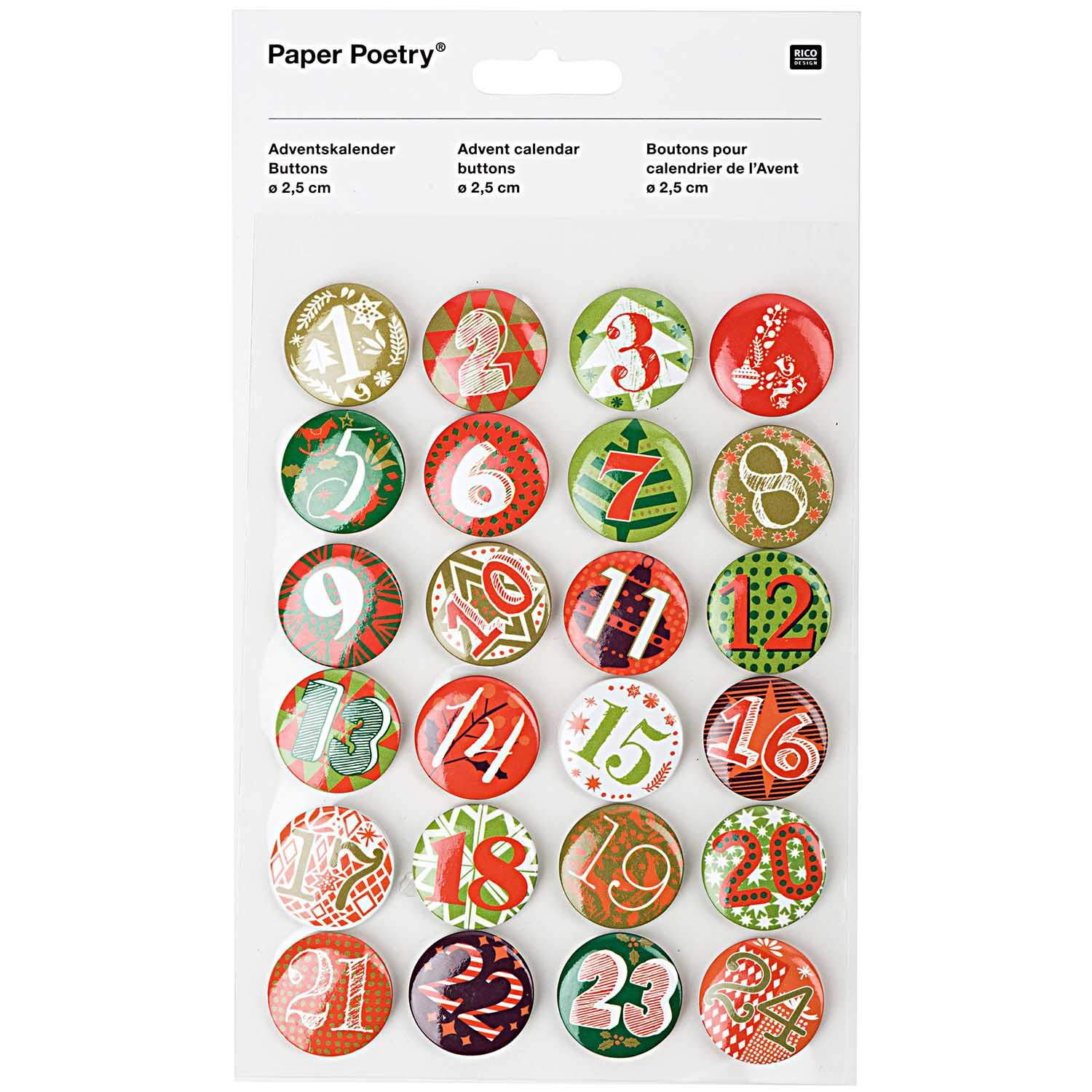 Adventskalender Zahlen Buttons Paper Poetry Adventskalender Zahlen Buttons Grün Rot 2 5cm 24 Stück