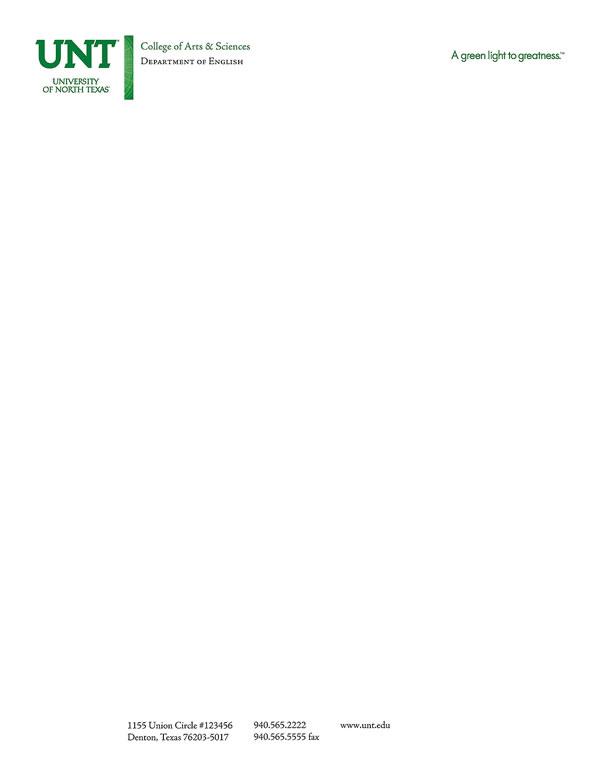 Stationery UNT Identity Guide - business letterheads