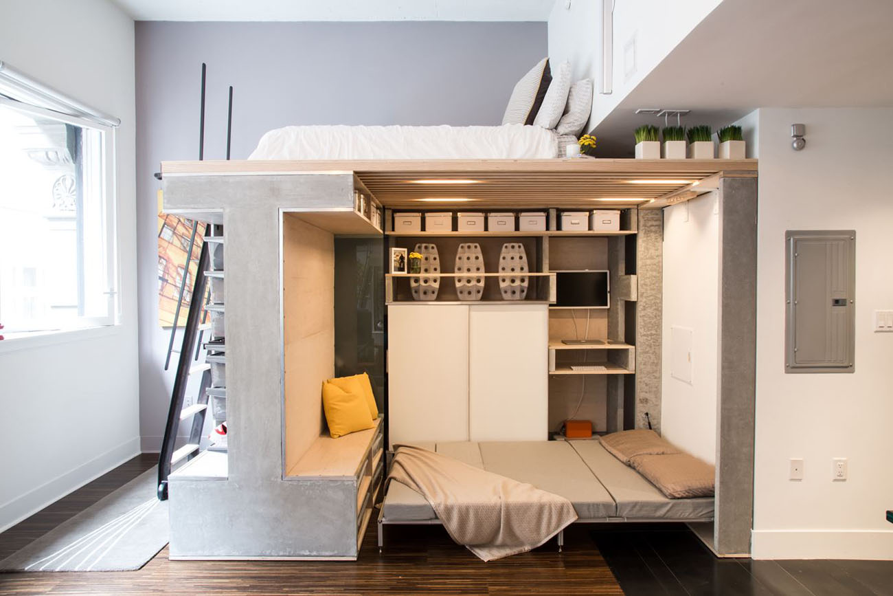 Beds For Small Studio Apartments Pre Fabricated Custom Designed Small Loft In San Francisco
