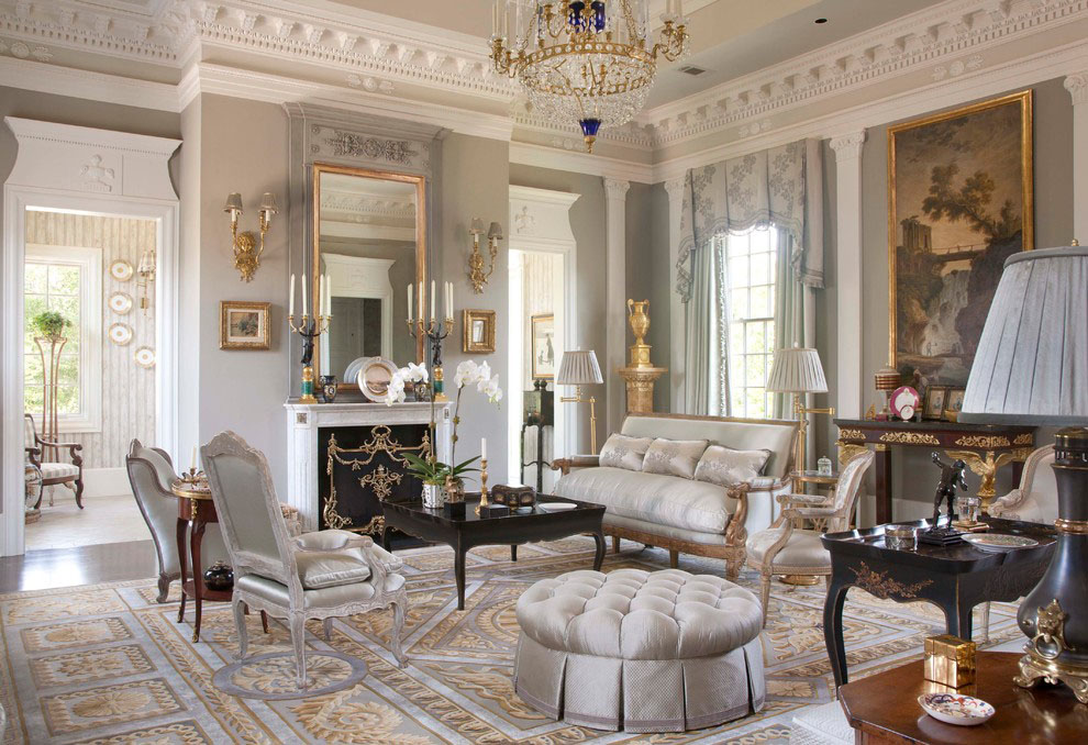 Benjamin Moore Classic Gray Palatial Federal Style Mansion In Houston | Idesignarch