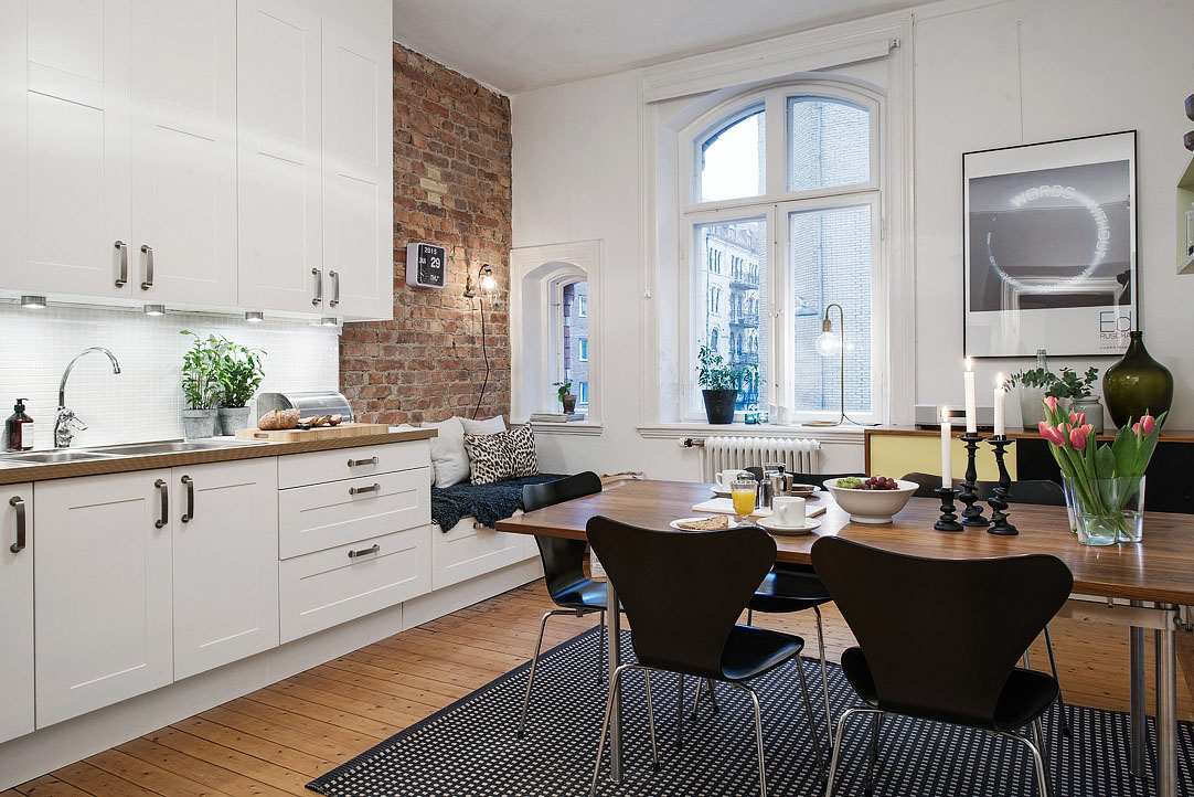 Square Kitchen Island Bench Charming Small Studio Apartment With Spacious Kitchen