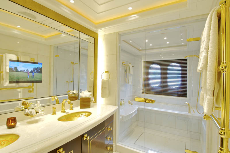 "Guest Bathrooms Sleek Mega Yacht ""kismet"" Cruises In Style 