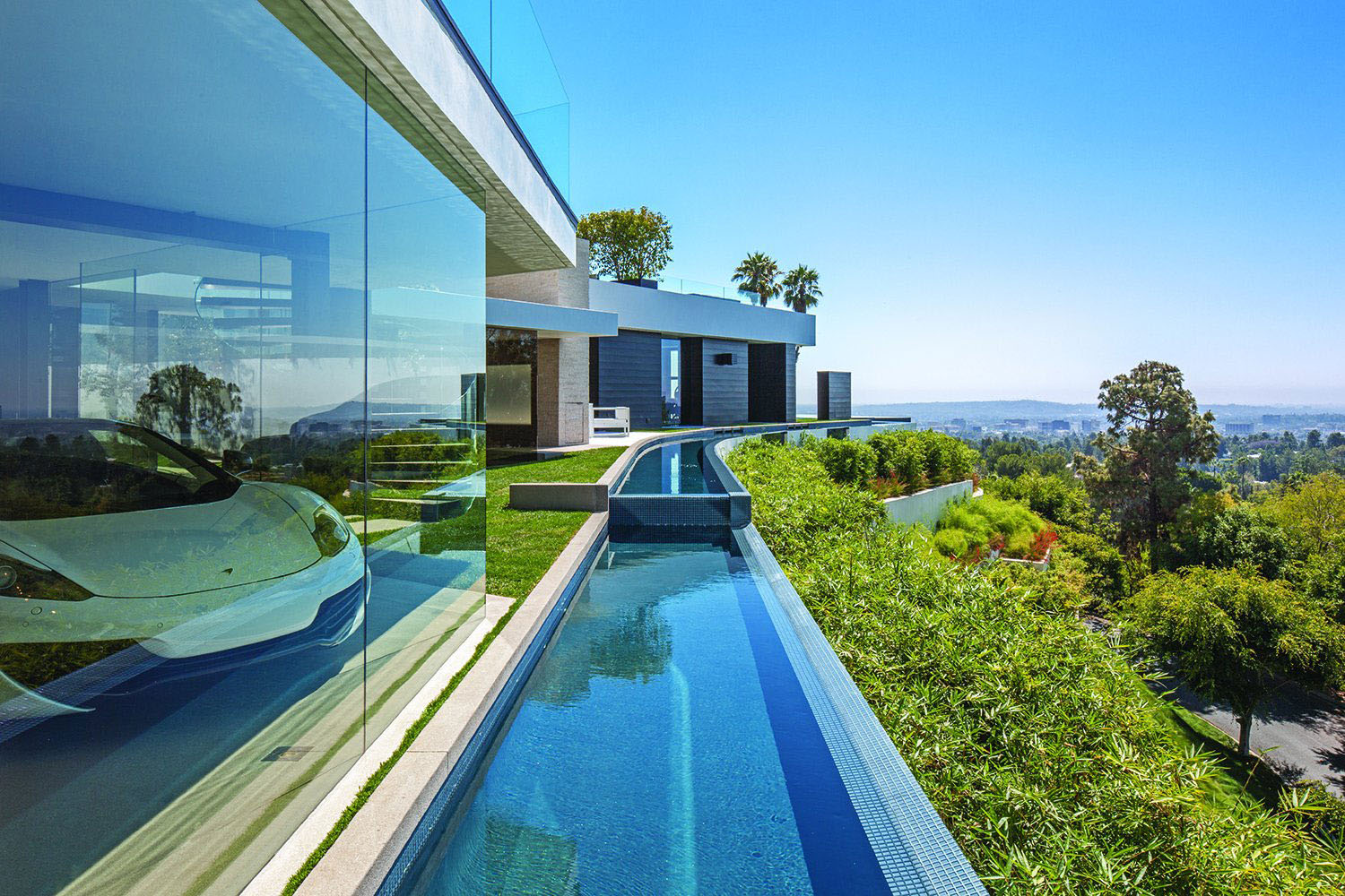Pool Garten Schmal World Class Beverly Hills Contemporary Luxury Home With