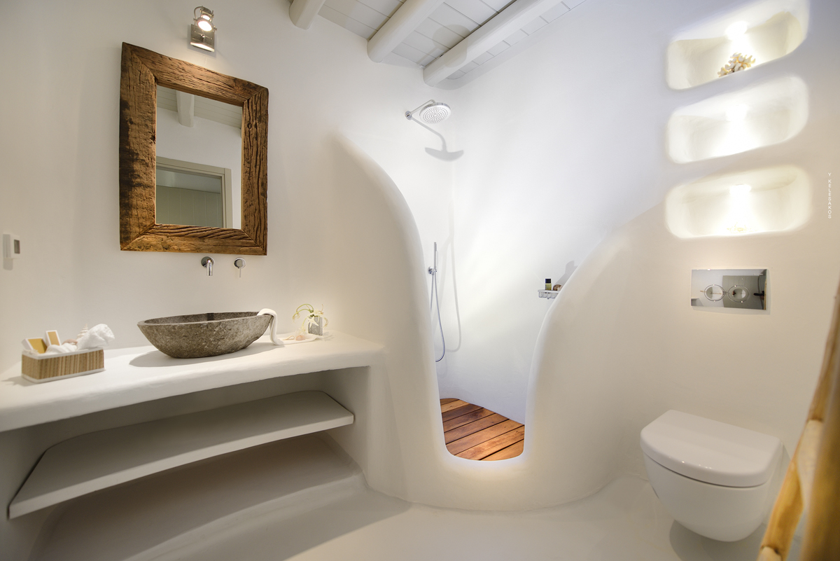 Deco Wc Design Luxury Mykonos Villa With Contemporary Mediterranean Decor