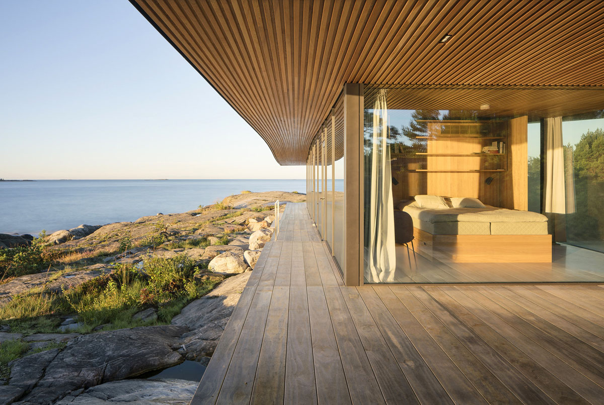 Interior Rustic Modern Sea Front Summer Glass House In Finland