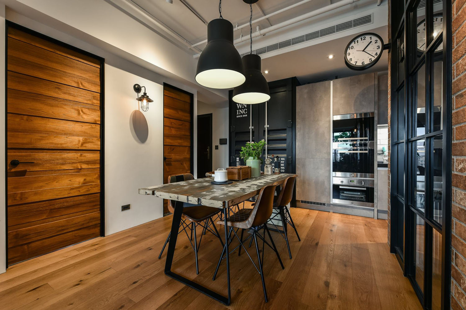 Brick Kitchen Cabinets Charming Industrial Loft In New Taipei City | Idesignarch