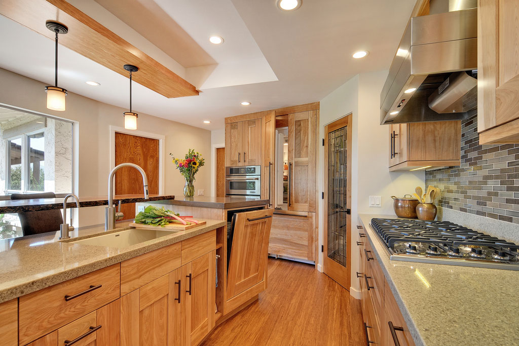 Custom Kitchen Cabinets And Countertops Contemporary Kitchen With Quartz Countertops And Red Birch