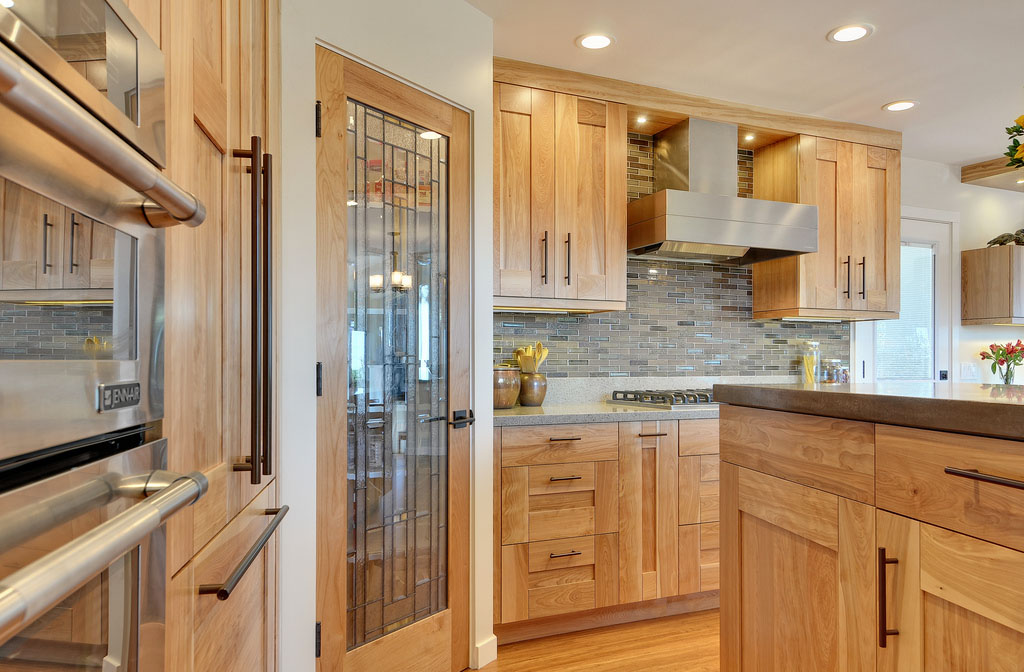 Single Wall Kitchen With Island Design Contemporary Kitchen With Quartz Countertops And Red Birch