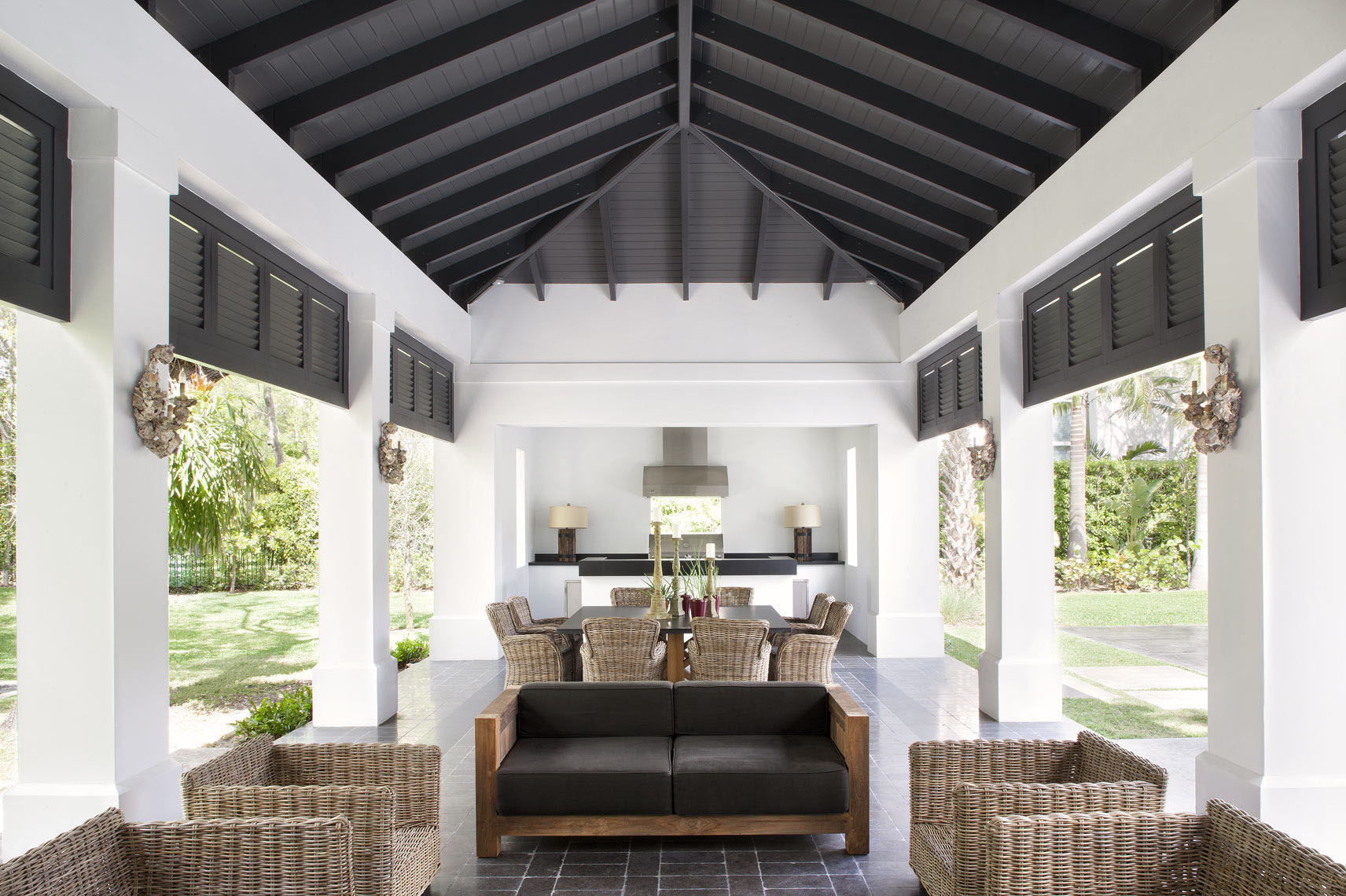 Plantation Interior Design Neoclassical Style Miami Home With Pool Pavilion