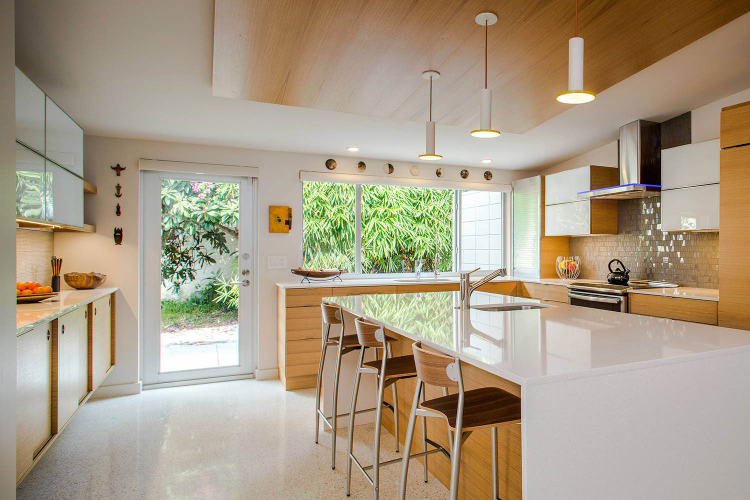 Industrial Style Kitchen Island Lighting Tastefully Decorated Modern Home With Mid Century