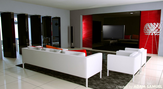 Red White And Grey Living Room u2013 Modern House - grey and red living room