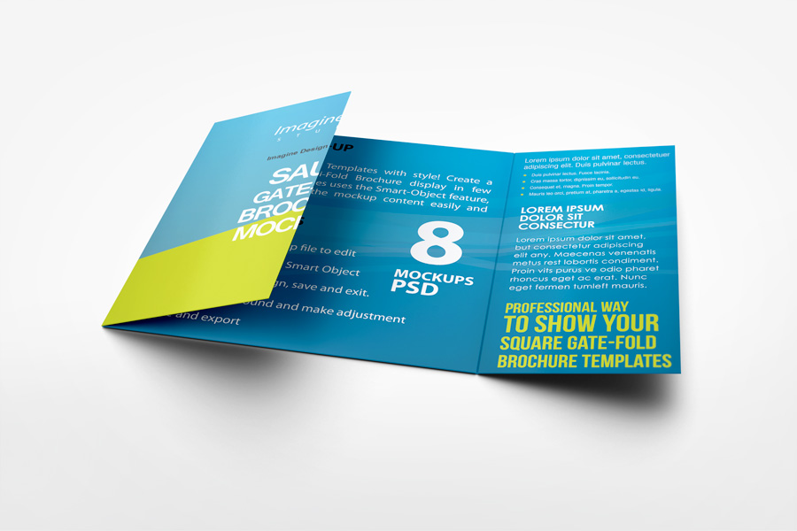 Square Gate Fold Brochure Mockup by idesignstudionet - gate fold brochure mockup