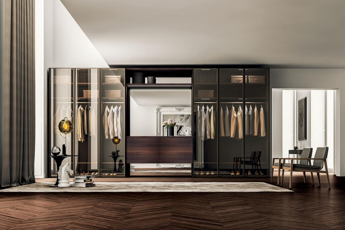 Living Room And Kitchen Combined Design Cabinet, With Hinged Doors In Tinted Glass | Idfdesign