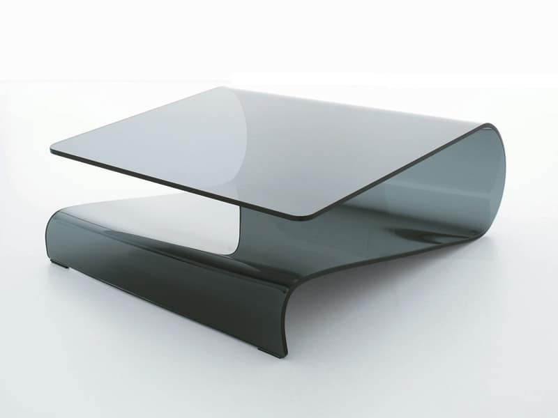 Tempered Glass Couchtisch Coffee Table In Curved Glass, For Living Room Or Reception