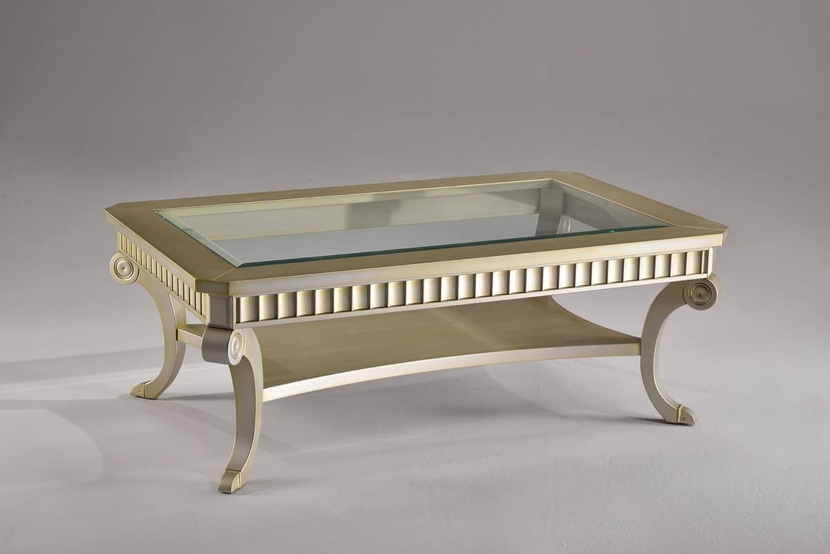 Chippendale Couchtisch Rectangular Coffee Table In Beech And Crystal For Hotels Idfdesign