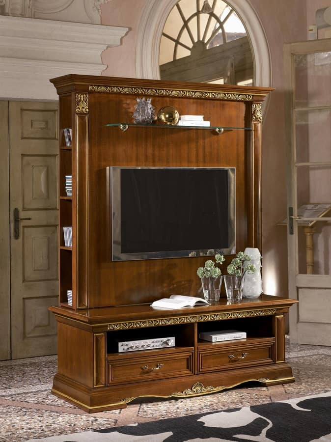 Meuble Living Design Classic Tv Stand In Carved Wood, Gold Leaf Finish | Idfdesign