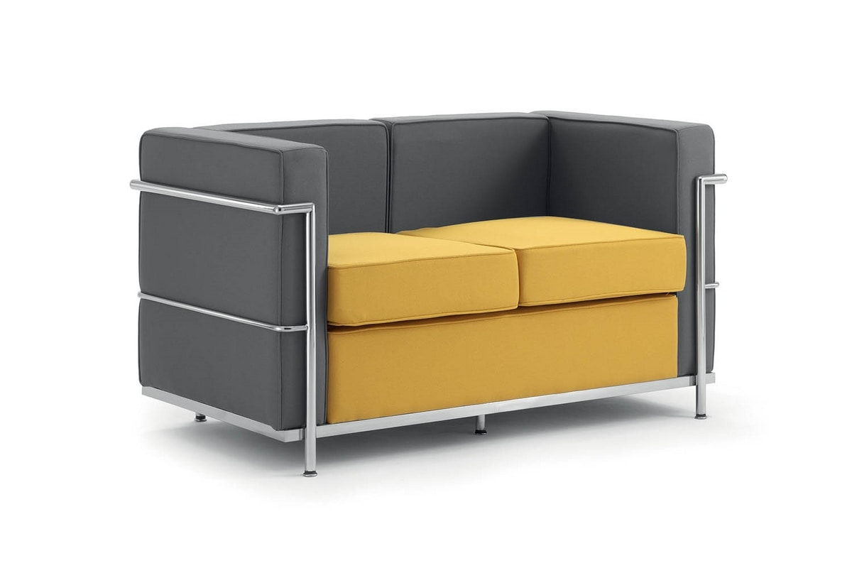 2 Seater Sofa Metal Frame Padded For Receptions Idfdesign