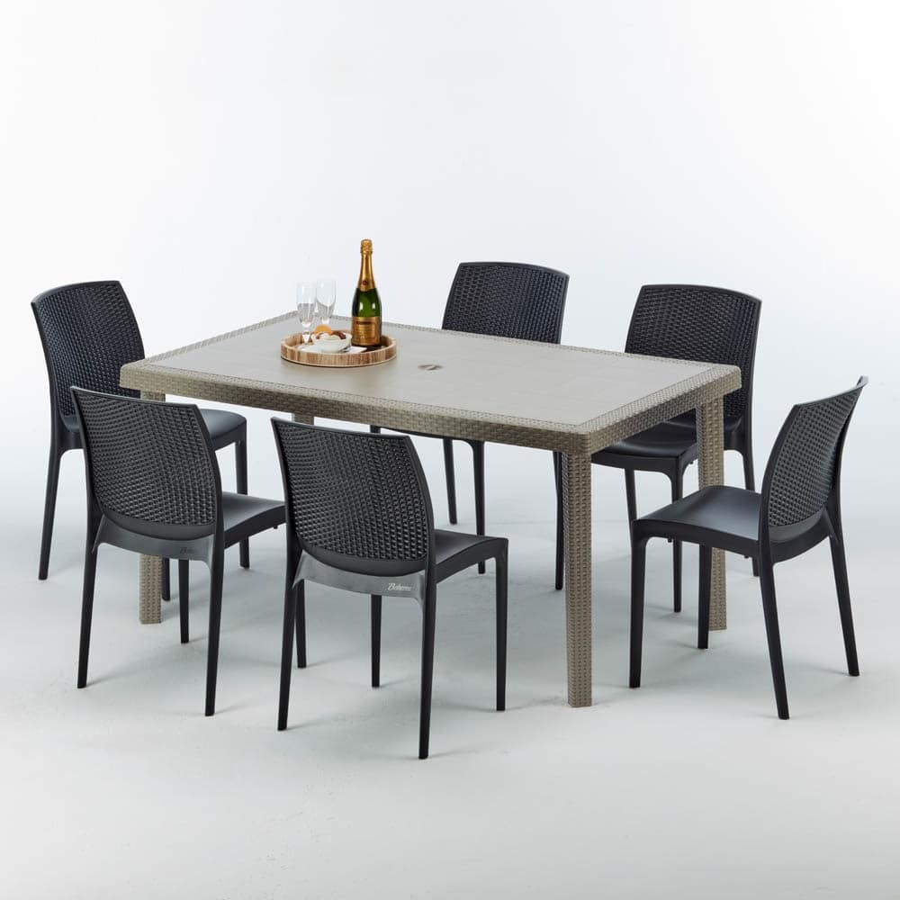 Sedie Rattan Cucina Rectangular Table In Rattan Elegant And Durable Idfdesign