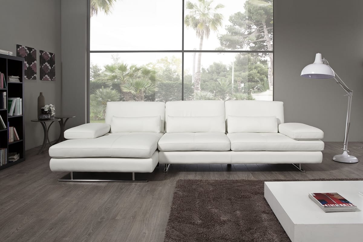 Chaise Darwin Leather Sofa With Chaise Longue And Armrests Idfdesign