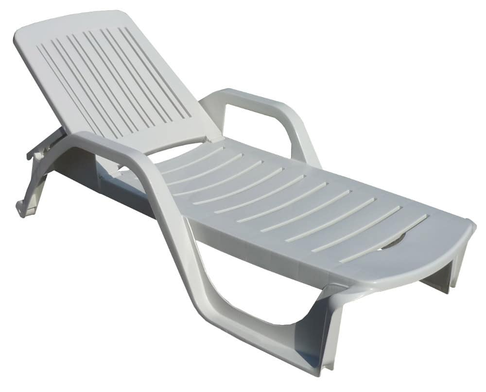 White Plastic Sun Loungers Deck Chair Made Of Plastic With Armrests Adjustable Backrest