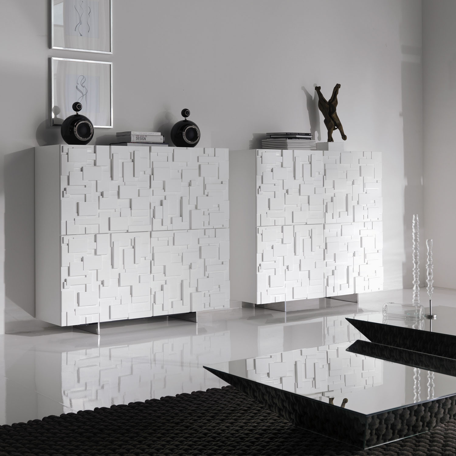 Meuble Salon Bois Et Blanc Buffet Salon Design En Bois Mondrian Idkrea Collection D Exception