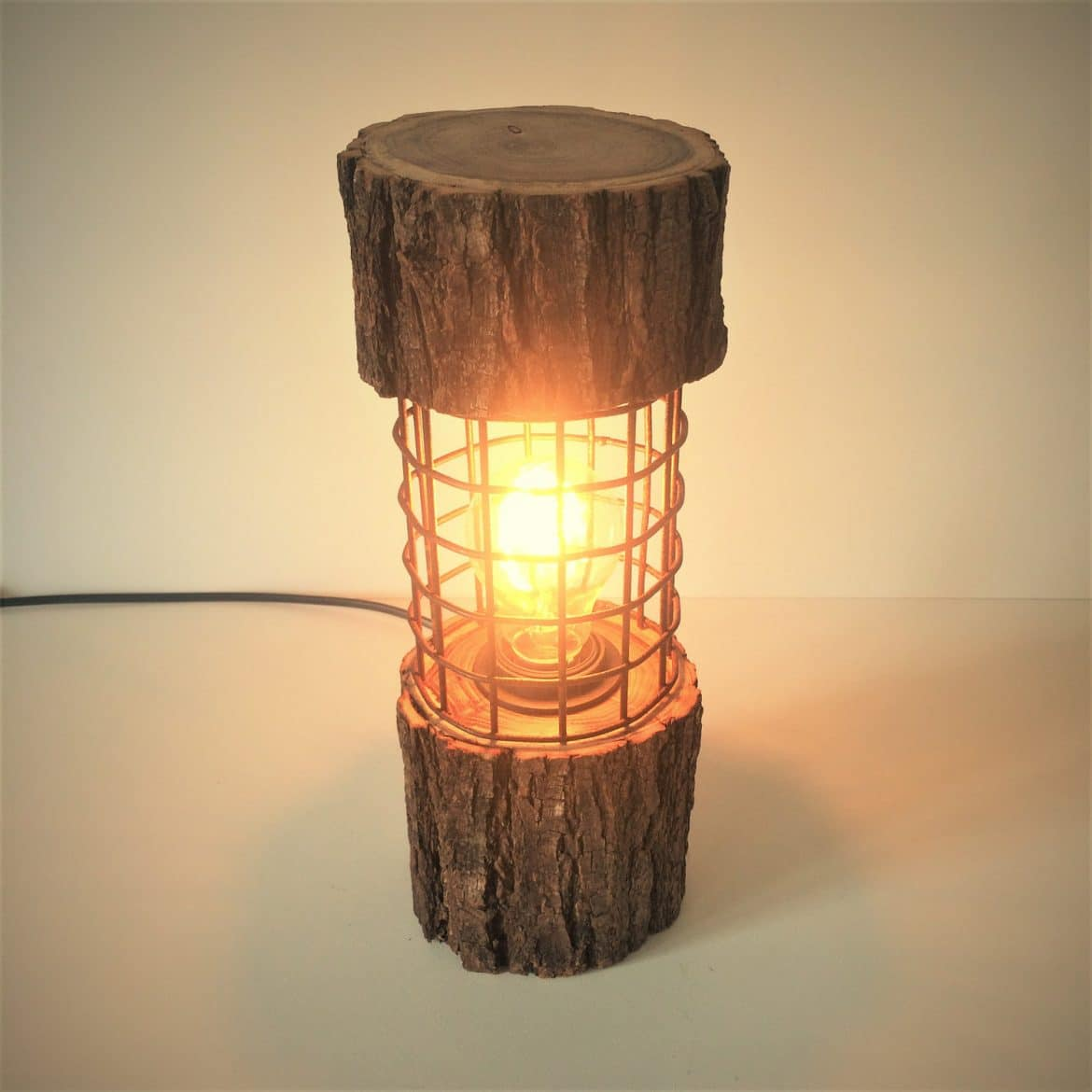Wooden Table Lamps Designs Rustic Log Lamp With Metal Cage Id Lights