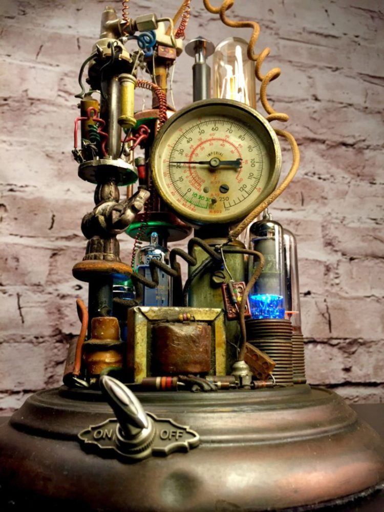 Led Dimmer Switch Steampunk Lamp Art Sculpture - Id Lights
