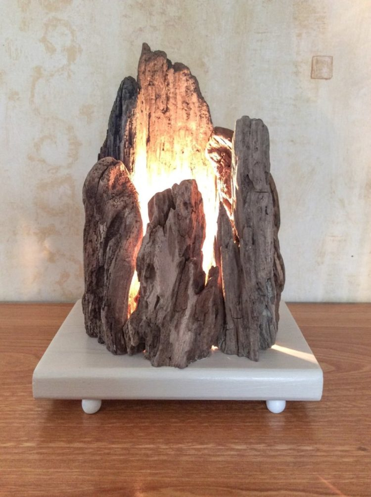 Bois Deco Floating Wooden Lamp With Rock Shape - Id Lights