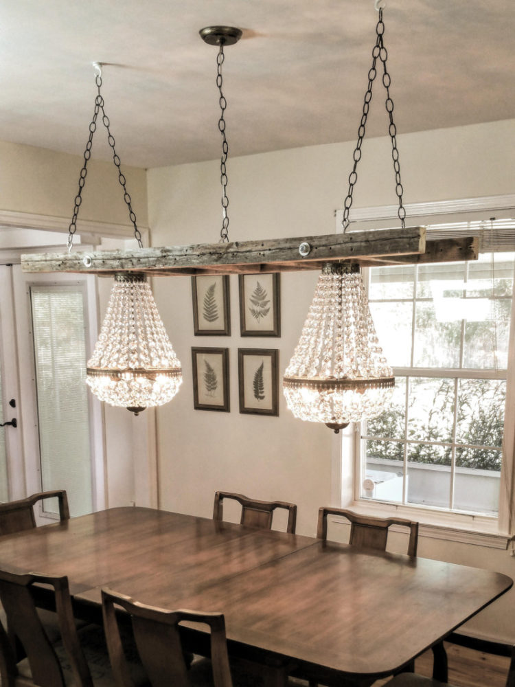 Light Wood Kitchen Island Vintage Farmhouse Ladder With Crystal Chandeliers • Id Lights