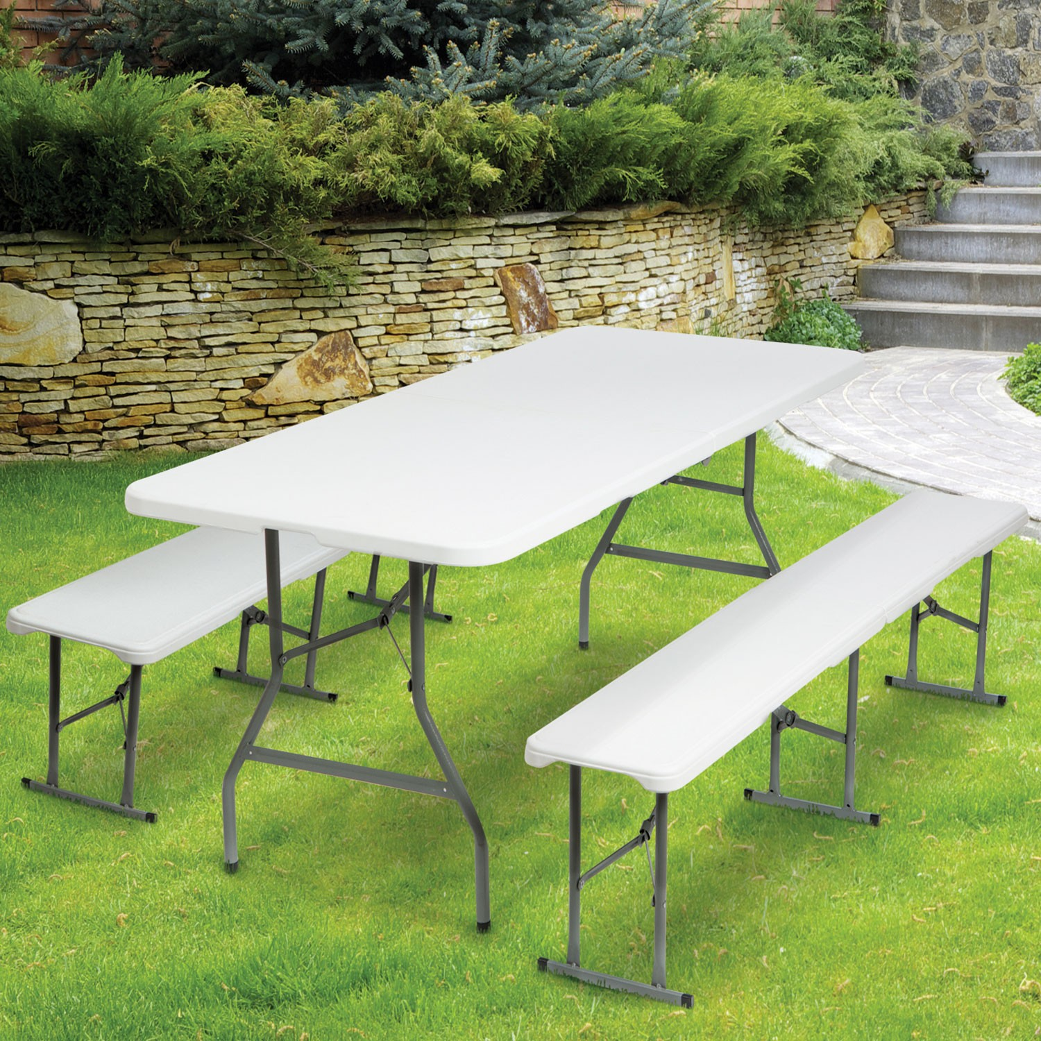 Table Plastique Carrefour Amazing Table Pliante Portable Cm Et Bancs Pliables Pour