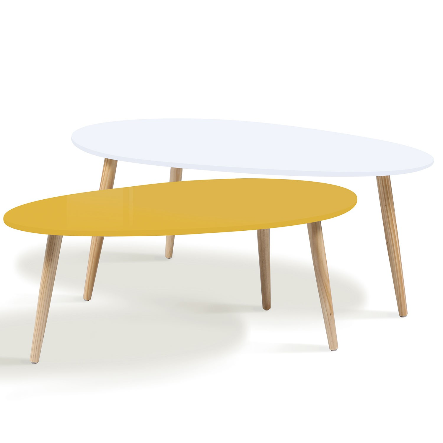 Table Salon Gigogne Lot De 2 Tables Basses Gigognes Laquées Jaune Blanc Scandinave Idm
