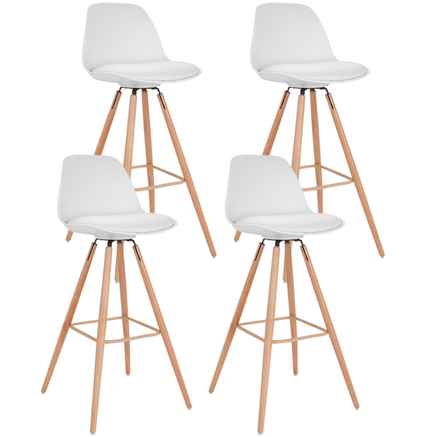 Lot De 4 Tabourets De Bar Scandinaves Blanc Sara Id Market