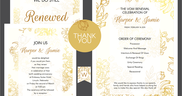 Formal Invitation Etiquette Free Gold Floral Vow Renewal Invitation