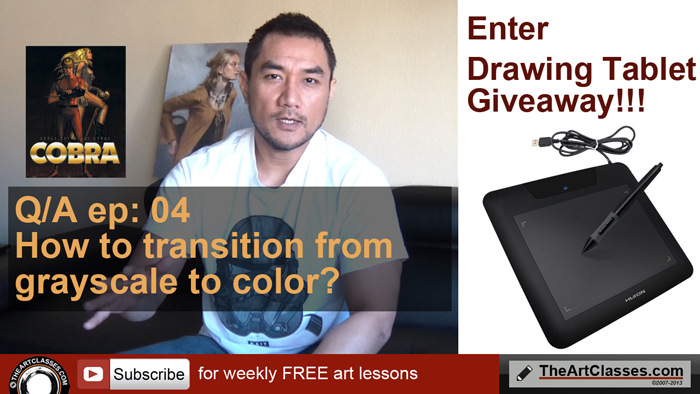 How to transition from grayscale to color - drawing and digital