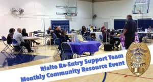 Photo Courtesy/San Bernardino County Probation Department.  Rialto residents can access valuable resources during the Rialto Re-entry Support Team's monthly free resource event every fourth Monday of the month at the Johnson Community Center Gym, located at 214 N. Palm Ave., Rialto.  Pictured is Probation Officer Mark Bradley conducting a recent session.