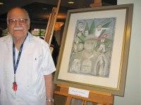 Photo courtesy/Frances J. Vasquez Leno F. Díaz standing next to his self-portrait, 2-27-2010.