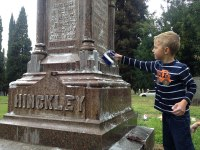 iecn photo/yazmin alvarez&lt;br /&gt;&lt;br /&gt;&lt;br /&gt;&lt;br /&gt;&lt;br /&gt;&lt;br /&gt;&lt;br /&gt;&lt;br /&gt;&lt;br /&gt;&lt;br /&gt;&lt;br /&gt;&lt;br /&gt;&lt;br /&gt;&lt;br /&gt;<br /> Tommy Allred, 6, scrubs down a historic tombstone at Hillside Memorial Park Cemetery as part Redlands Community Day of Service.