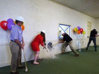 courtesy photo/redlands ymca&lt;br /&gt;&lt;br /&gt;&lt;br /&gt;&lt;br /&gt;&lt;br /&gt;&lt;br /&gt;&lt;br /&gt;&lt;br /&gt;&lt;br /&gt;&lt;br /&gt;&lt;br /&gt;&lt;br /&gt;&lt;br /&gt;&lt;br /&gt;&lt;br /&gt;&lt;br /&gt;<br /> YMCA board members, donors, and executives take a sledgehammer to a wall April 19 to start the construction of the 4th and final phase of facility upgrades to the 1927 building.