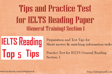 ieltsgeneral.com - tips and practice test for IELTS General Reading Section 1