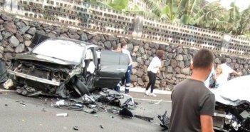 Жесткое столкновение нескольких автомобилей в Garachico